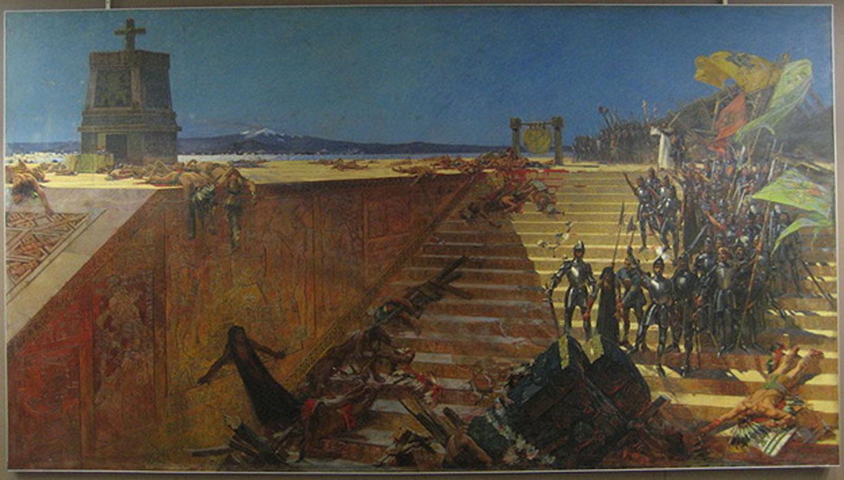 """""""Los últimos días de Tenochtitlán: Hernán Cortés conquista México,""""óleo pintado en 1899 por William de Leftwich Dodge. (Public Domain)"""