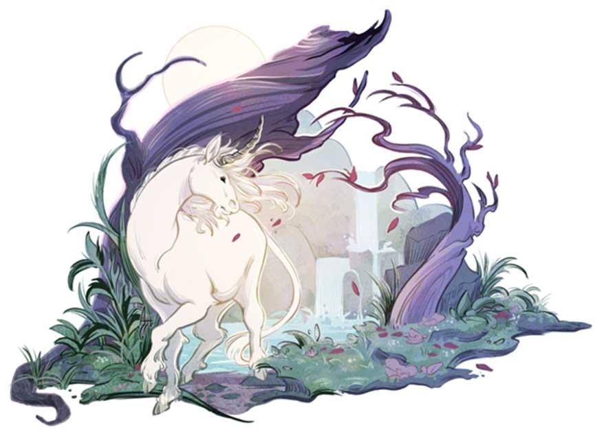 El mítico unicornio. Ilustración de Alexandria Huntington para expedia.co.uk