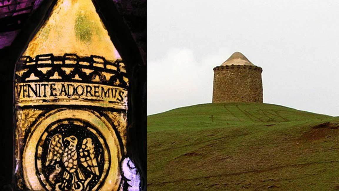 Imagen central de la Vidriera de la Epifanía y la Almenara del Fénix, a la que parece representar. (Fotografía © Graham Phillips)