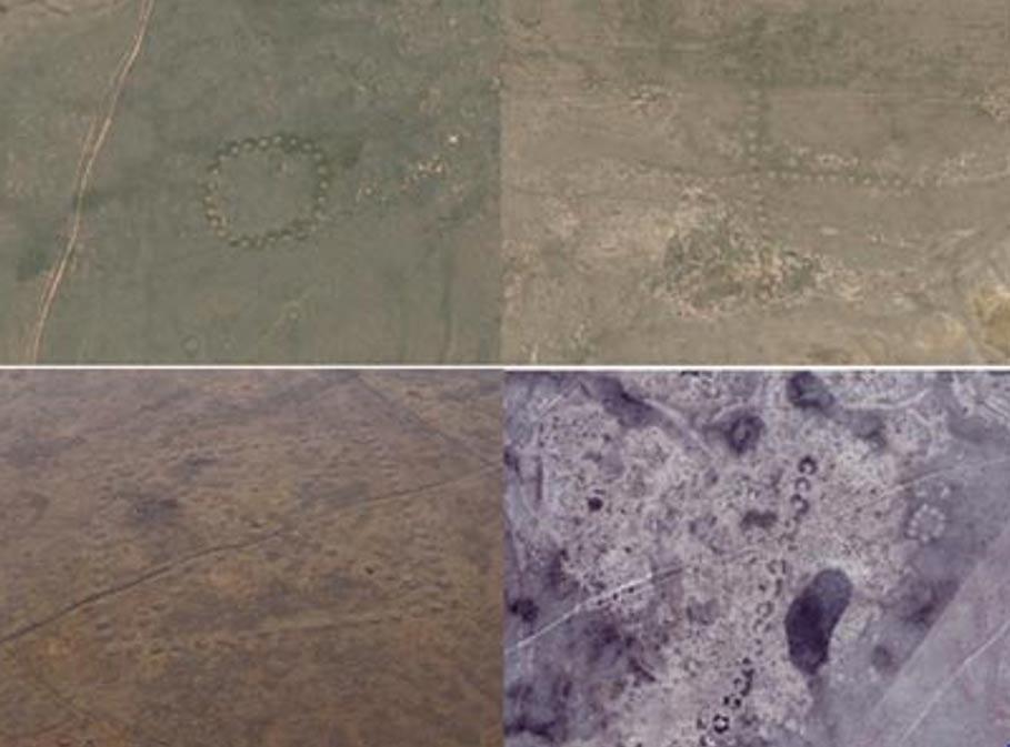 Algunos de los geoglifos hallados al norte de Kazajistán. Fotografía: ©DigitalGlobe, cortesía de Google Earth