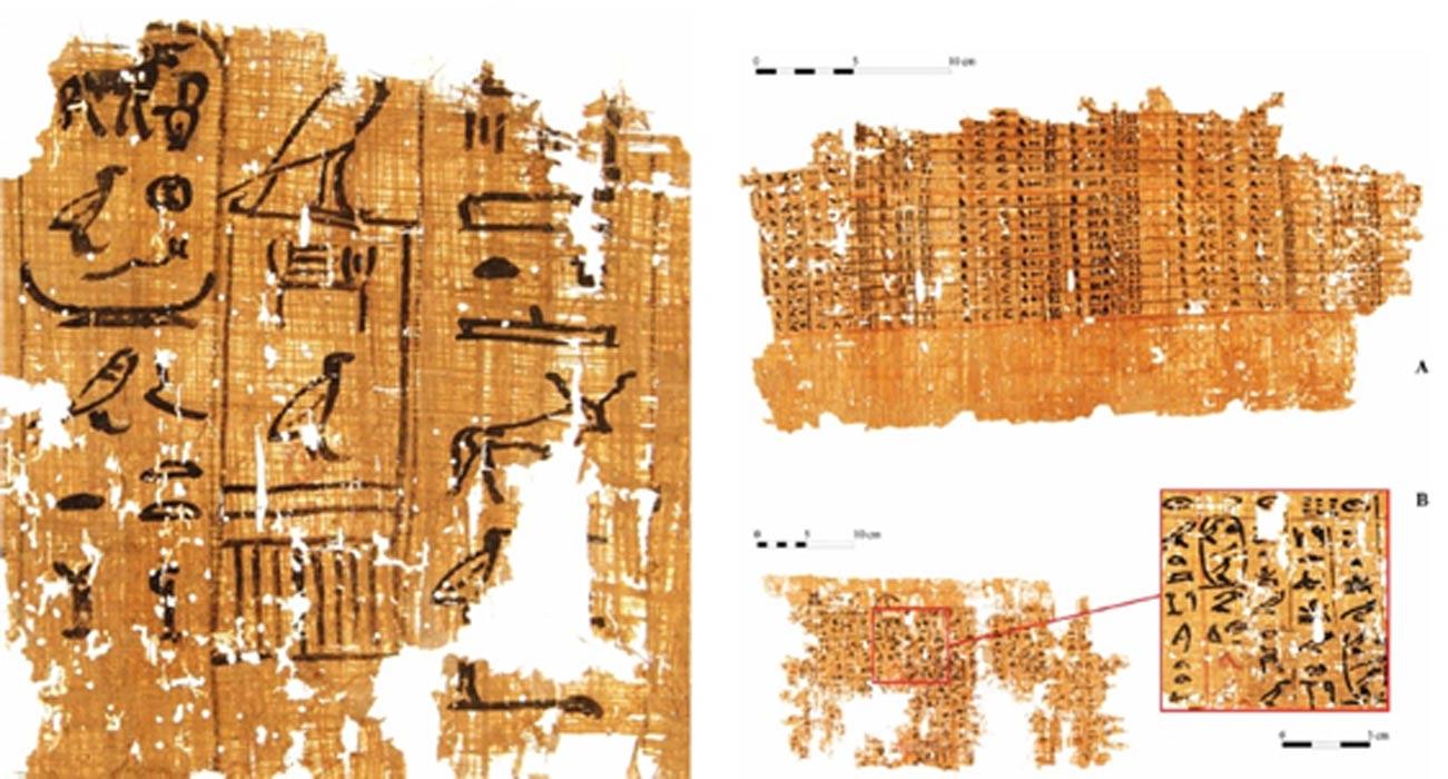 """Izquierda: Parte de un papiro inscrito con un documento datado en el reinado de Khufu (13º recuento de ganado). (G. Pollin) Derecha: Documento escrito sobre un papiro (A) y detalle de una página del """"diario"""" del inspector de obras Merer (B), en el que se menciona el """"Horizonte de Khufu."""" (G. Pollin)"""