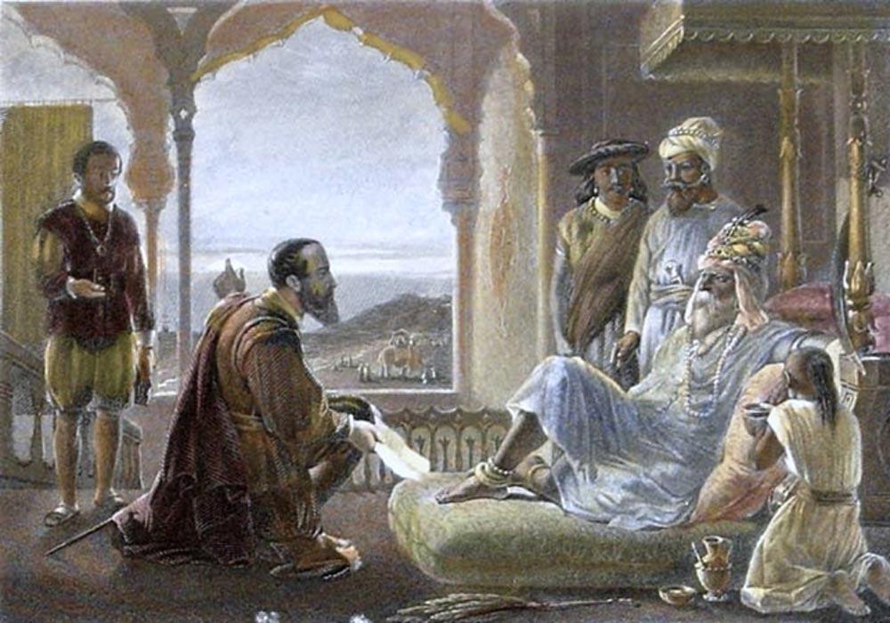 Grabado sobre acero de la década de 1850, coloreado a mano posteriormente, en el que se representa el encuentro de Vasco da Gama con Zamorín de Calicut. (Public Domain)