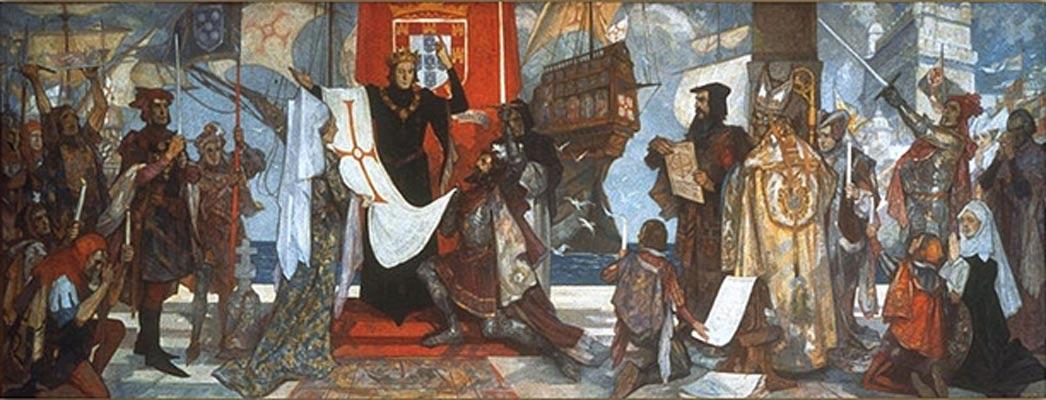 Vasco da Gama poco antes de zarpar en su primer viaje rumbo a lo desconocido. Mural de John Henry Amshewitz, RBA (c. 1936). (Public Domain)