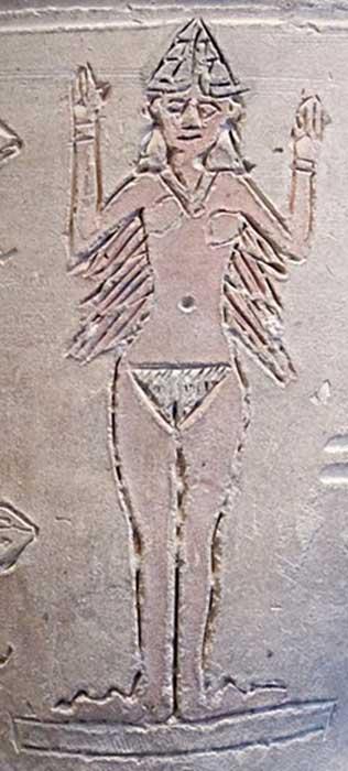 """Detalle de una pieza cerámica de la antigua Mesopotamia conocida como """"Vaso de Ishtar"""", de terracota decorada y procedente de Larsa, principios del II milenio a. C. (Public Domain)"""