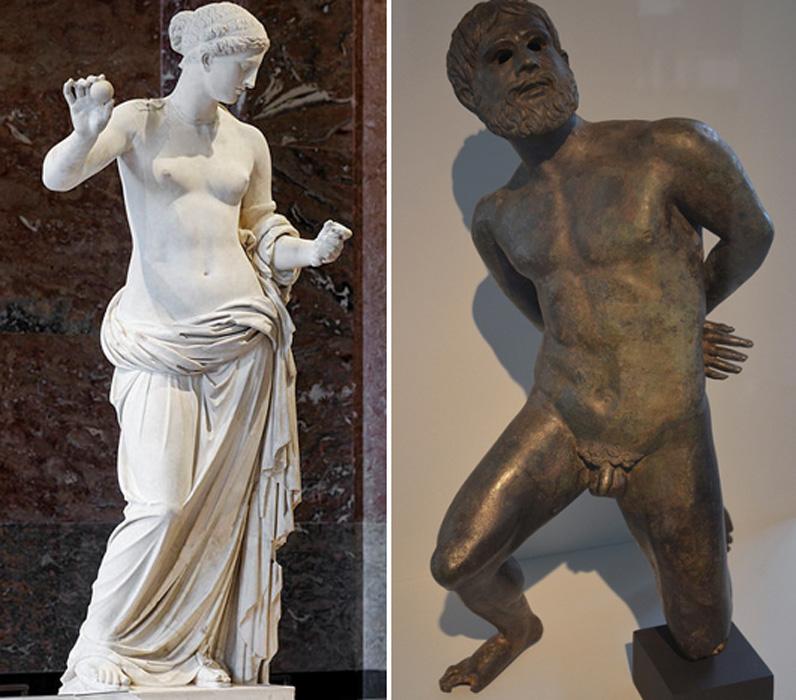 Izquierda: Estatua de la Venus de Arlés expuesta en el Museo del Louvre (CC by SA 2.5). Derecha: Estatuilla de bronce de un cautivo galo esperando su sentencia de muerte, último cuarto del siglo I a. C., descubierta en el transcurso de unas excavaciones subacuáticas realizadas en el río Ródano. Musée de l'Arles Antique, Arlés, Francia (CC by SA 2.5)