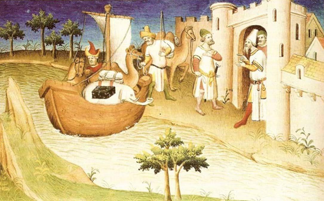 """Miniatura del libro """"Los viajes de Marco Polo"""" (""""Il milione""""), publicado originalmente en vida de Polo (c. 1254 – 8 de enero de 1324), pero frecuentemente reimpreso y traducido. (Wikimedia Commons)"""