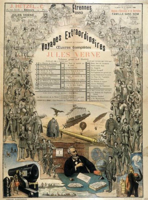 """Póster encargado por Pierre-Jules Hetzel en 1889 para anunciar la serie de novelas de Julio Verne """"Viajes extraordinarios"""". (Public Domain)"""