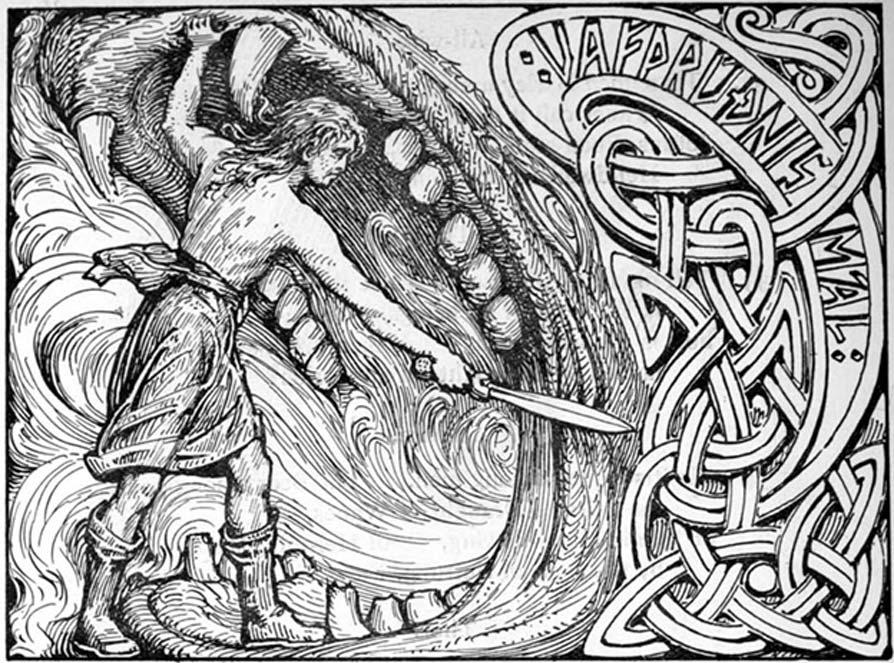 El dios Víðarr empuña su espada en las fauces del lobo Fenrir. (Dominio público)