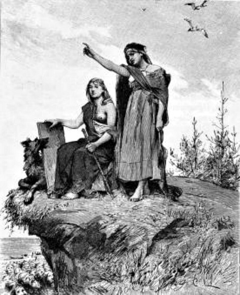 La vidente de Völuspá, dibujo realizado por Carl Larsson para la versión sueca de la Edda poética de 1893, traducida por Fredrik Sander. (Public Domain)