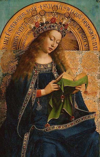 """Virgen María del Altar de Gante, conocido también como """"Adoración del Cordero Místico"""", óleo sobre tabla de Jan van Eyck. (Public Domain)"""