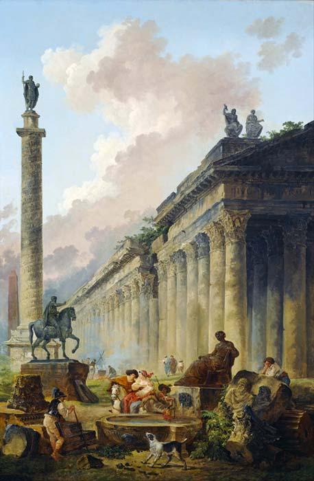 Vista de Roma con la estatua ecuestre de Marco Aurelio, la Columna de Trajano y un templo. (DcoetzeeBot/Dominio público)
