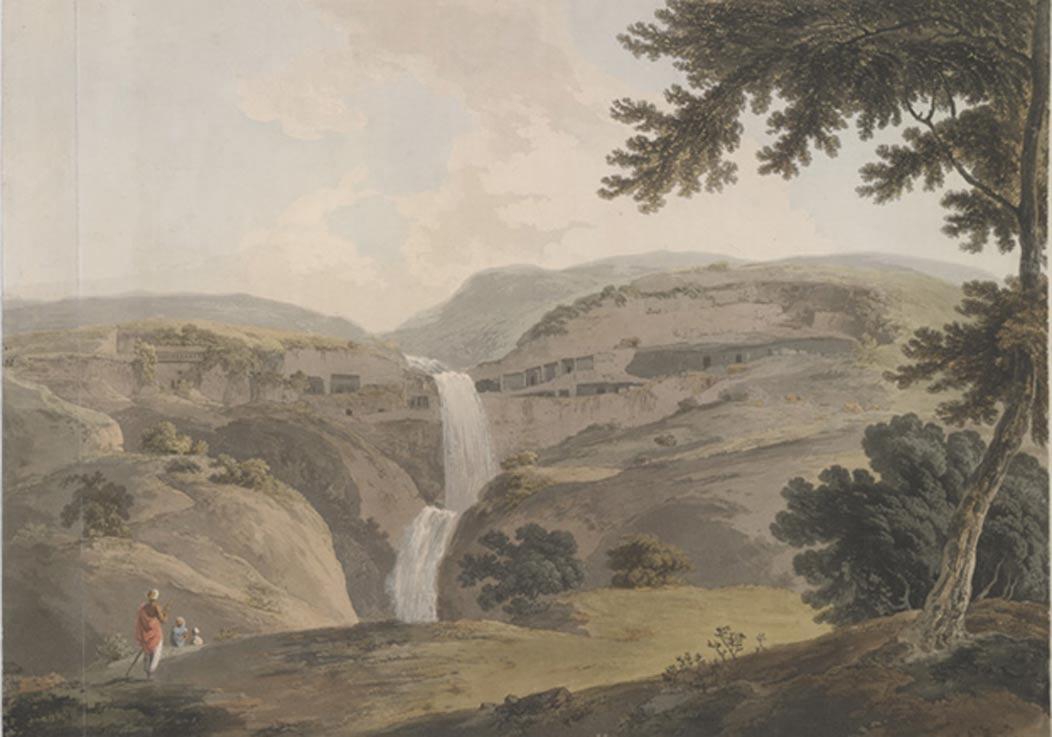 Vista de las Cuevas de Ellora (1803), obra de Thomas Daniell. (Public Domain)