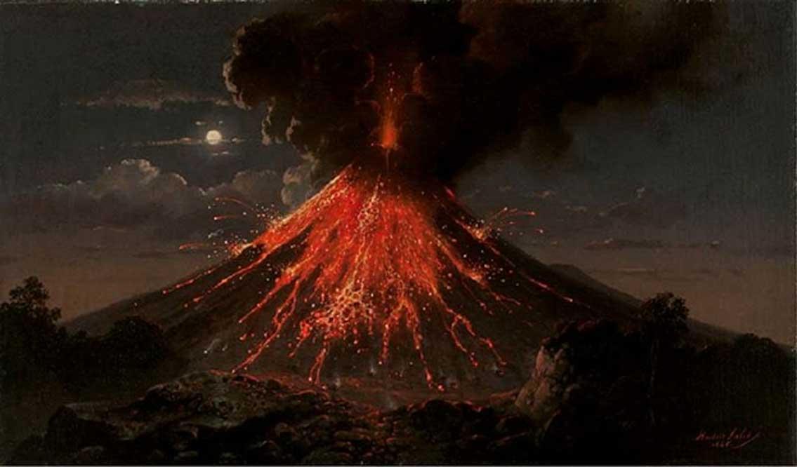 Erupción nocturna del volcán Merapi. (1865) Óleo de Raden Saleh. (Dominio público)