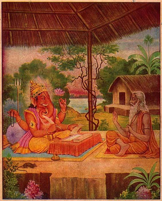 Vyasa y Ganesha escriben el Mahabharata. (Dominio público)