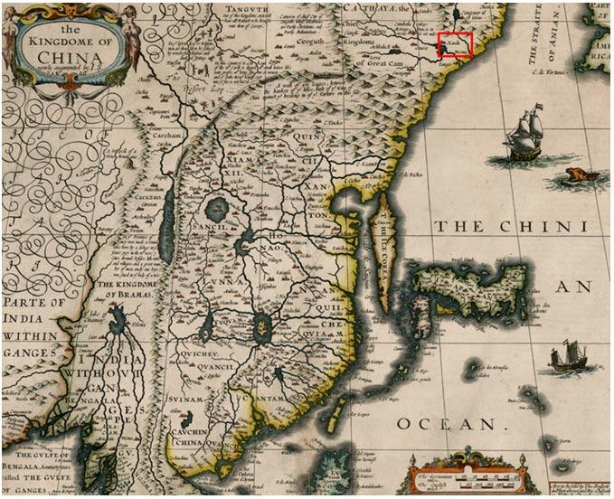 Xanadú señalado en rojo en el mapa de 1626 del cartógrafo inglés John Speed