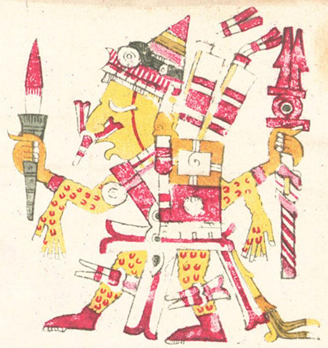 Xipe Tótec en una ilustración del Códice Borgia, en la que aparece empuñando un arma ensangrentada y ataviado con la piel humana de una víctima desollada. (Public Domain)