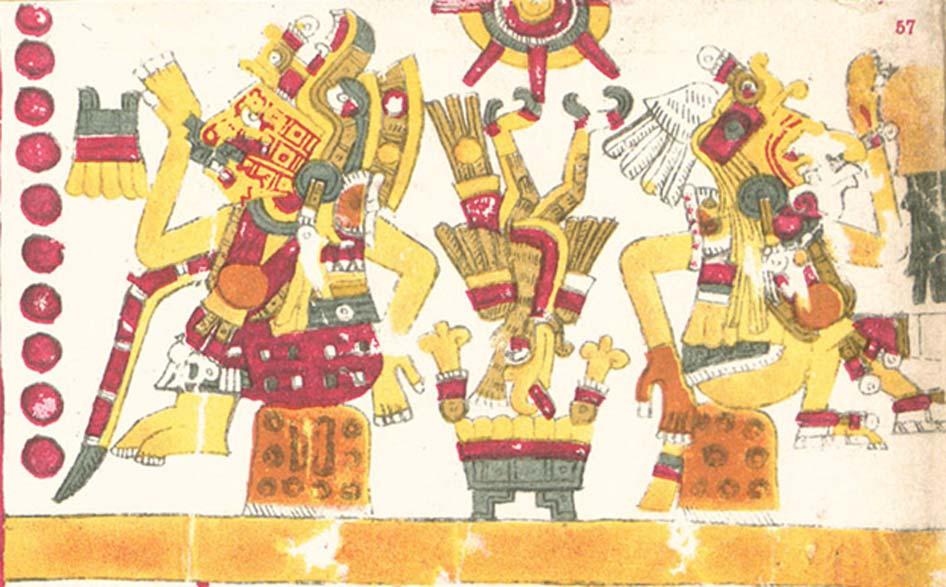 Xochiquetzal (centro) y su hermano gemelo Xochipilli representados en el Códice Borgia. (Dominio público)