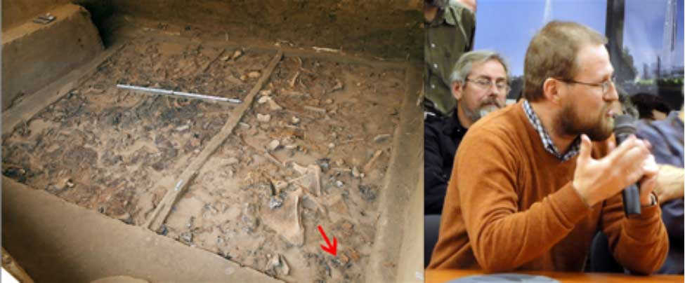 Yacimiento donde fue encontrada la estatuilla y fotografía del Dr. Gavrilov, jefe adjunto del Departamento de Arqueología de la Edad de Piedra del Instituto de Arqueología de Moscú. Fotografía: Instituto de Arqueología y Etnografía de Rusia