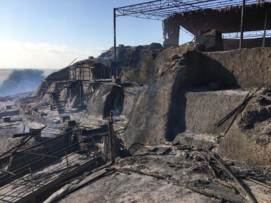 El yacimiento arqueológico de Ventarrón después del incendio. (Ignacio Alva Meneses)