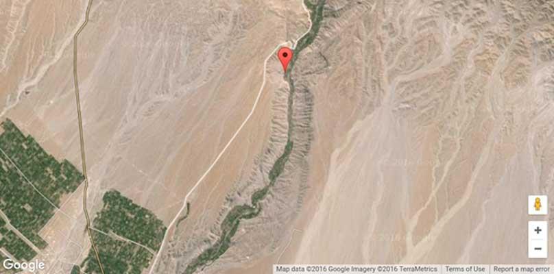 Localización geográfica del antiguo asentamiento de Quilcapampa, Perú. Este paisaje de rocas y arena alberga una gran cantidad de misteriosos geoglifos. (Google Maps, 2016/Geographic.org)