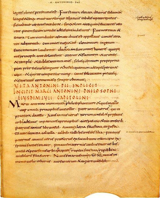 Una página del primer manuscrito de la Historia Augusta: el final de la vida de Antonino Pío y el comienzo de la vida de Marco Aurelio, hermano de Lucio Vero. (Πυλαιμένης / Dominio público)