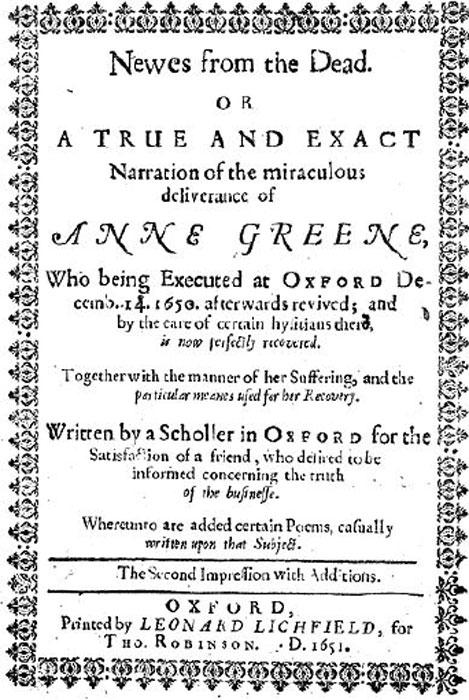 Página del título del libro 'A Scholler in Oxford' de R. Watkins sobre el renacimiento de Anne Greene. (Fæ / CC BY-SA 4.0)