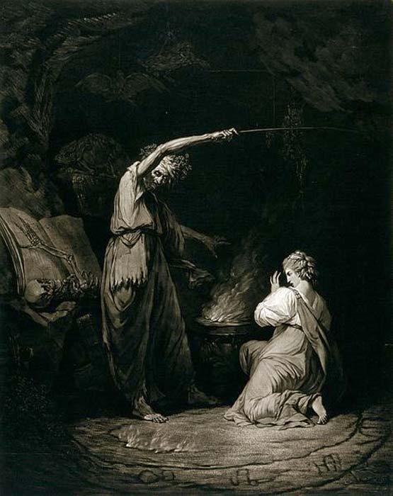 Una bruja, levantando su brazo sobre un caldero, está haciendo una poción; una mujer joven está arrodillada frente al caldero. (Imágenes de Bienvenida / CC BY 4.0)