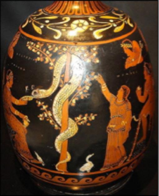 En el jarrón de arriba de aproximadamente 430 a.C., la Hespérida de la izquierda alimenta a la serpiente mientras la otra tiende al manzano. El libro del Génesis no dice qué tipo de árbol frutal era. Es de la tradición griega que tenemos la idea de que Eva se comió una manzana. (Dominio público)