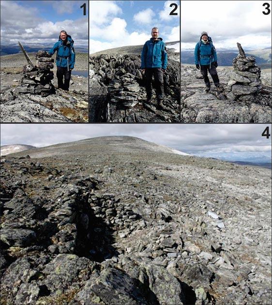 Arriba: Ejemplos de mojones que marcan el paso de Lendbreen, numerados como en la imagen anterior (fotografías: J.H. Barrett). Abajo: refugio de piedra cerca de la parte superior del paso (Imágenes: E. Finstad).