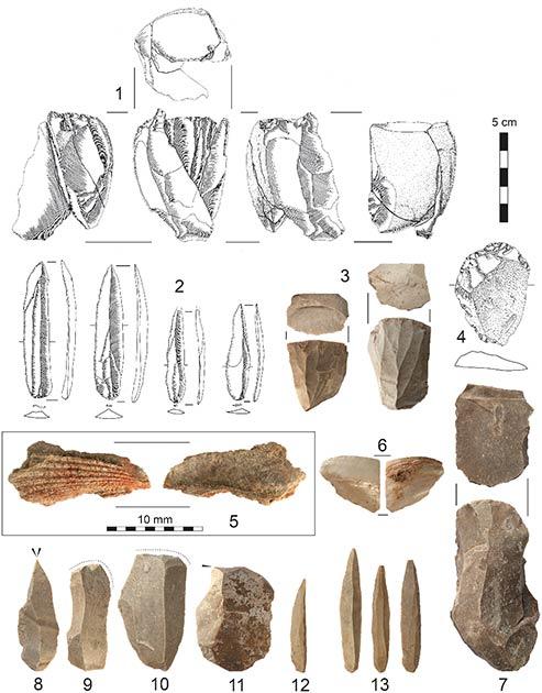 Artefactos de Al-Ansab 1: (1) Núcleo de la hoja reacondicionado, (2) Puntas El-Wad (3) Núcleos de la hoja, (4) raspador de extremo, (5) fragmento de concha marina con tinción ocre, (6) fragmento de concha marina, (7) núcleo de la hoja (8) buril diedro, (9, 10) raspadores de extremo, (11) buril y (12, 13) puntas El-Wad. (Richter et al, 2020 / PLOS ONE)
