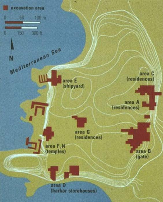 Algunas excavaciones anteriores en tierra y cerca de la costa en Tel Dor. (Universidad de Washington)