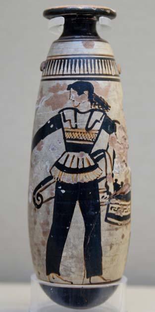 Amazon usando pantalones y portando un escudo con una tela estampada y un carcaj. (Jastrow / CC BY-SA 2.5)
