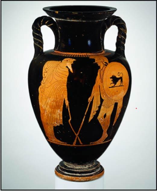 Ánfora de figura roja del ático atribuida al pintor Matsch, 480 a.C., que muestra una escena de partida. Un anciano (izquierda) se apoya en un bastón o muleta torcida mientras se despide del guerrero. (Fotografía cortesía del Museo Metropolitano de Arte, Nueva York, 56.171.39 / Antiquity Publishers Ltd)