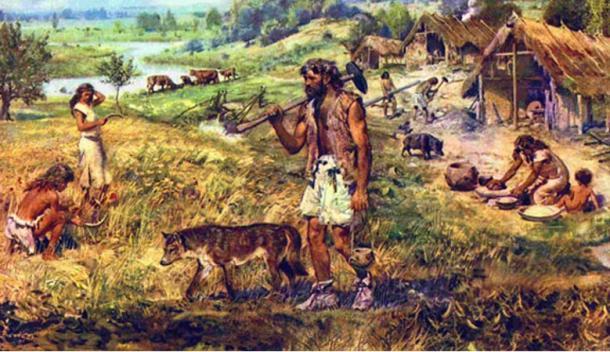 Representación artística de antiguos agricultores del Neolítico. (Fuente de la imagen)