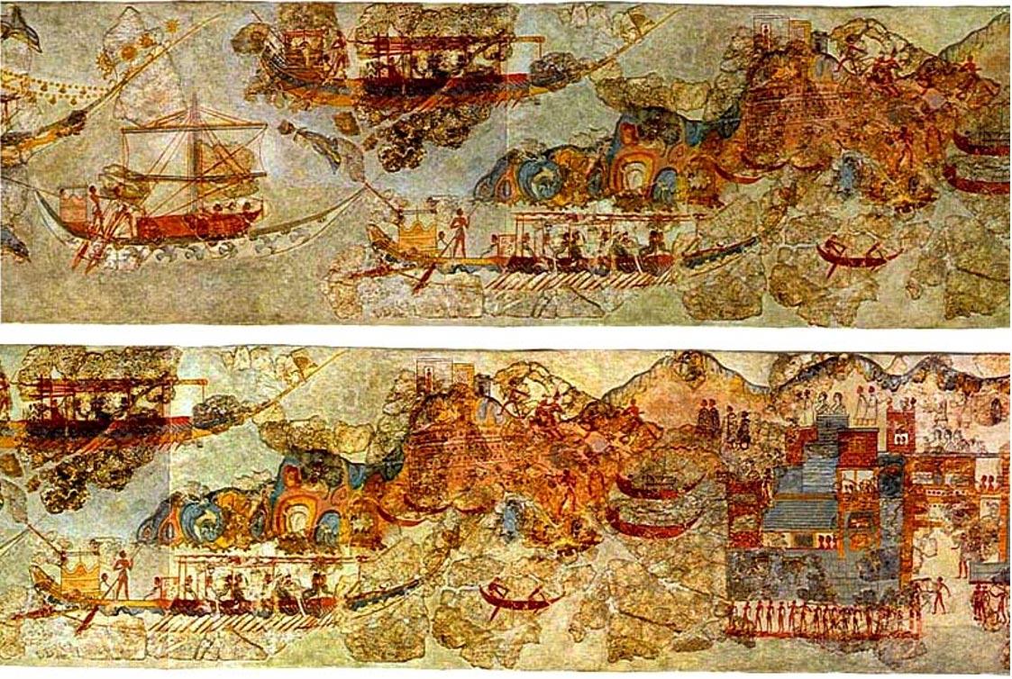 Estos antiguos frescos de la isla griega de Santorini nos muestran escenas de navegación en el mar Mediterráneo. (Wikimedia Commons)