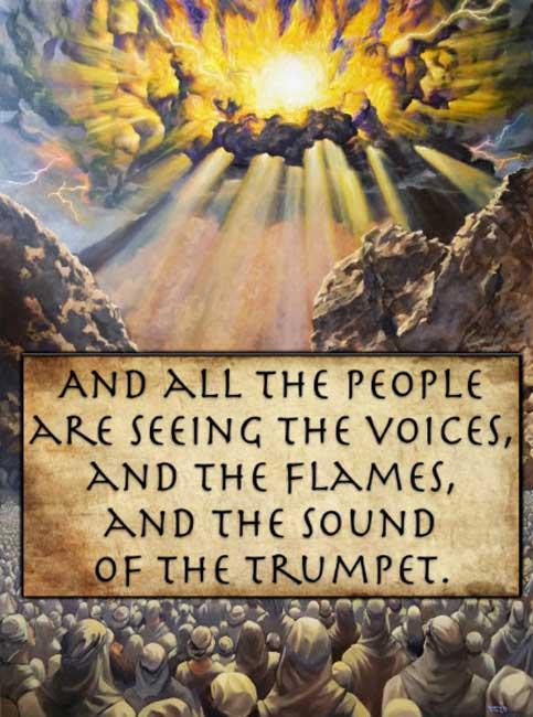 Y todo el pueblo ve las voces, las llamas y el sonido de la trompeta. (Éxodo 20:18 - Traducción literal de Young). (Autor proporcionado)