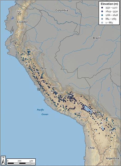Otro mapa de asentamientos coloniales ordenados por elevación podría abrir la puerta a más investigaciones de campo en Perú.