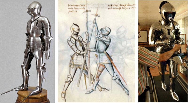 Comparación entre una armadura medieval original (izquierda), su representación gráfica en antiguos textos medievales (centro) y la réplica utilizada en el reciente estudio realizado por investigadores de la Universidad de Ginebra (derecha) (Imágenes: Historical Methods: A Journal of Quantitative and Interdisciplinary History)