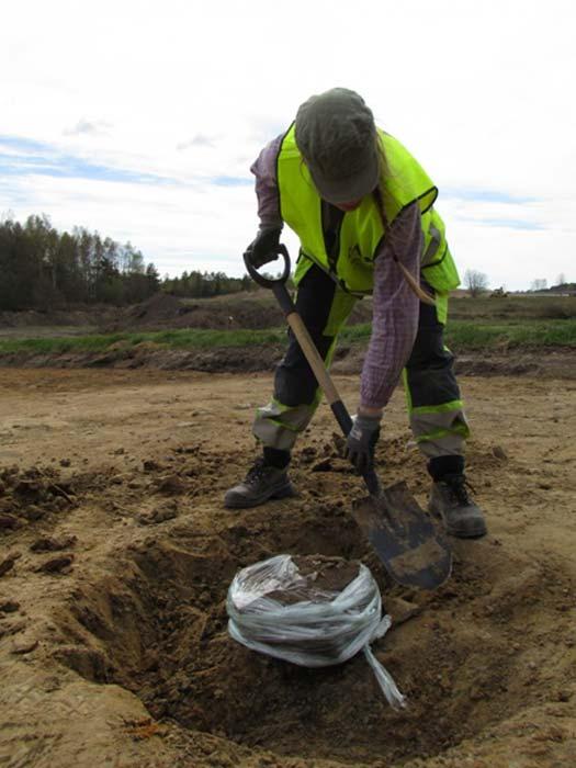 Lina Håkansdotter palea cuidadosamente en la tierra para desenterrar una antigua olla descubierta cerca de los 82 fosos de Sunnsvära, Suecia. El plástico impide que la olla se deshaga o rompa a lo largo del proceso. (Jessica Andersson/CC)