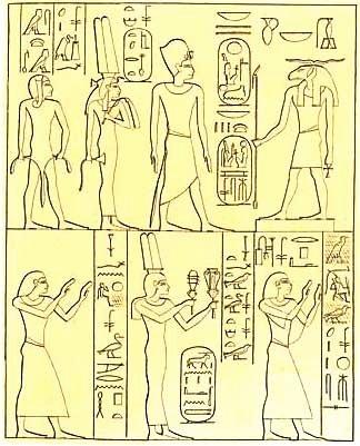 Estela rocosa de Asuán muestra (arriba) Ramsés II, Isetnofret y Khaemweset de pie ante Khnum, y debajo de los príncipes Ramsés, Merneptah y la princesa reina Bint-Anath. (Lepsius / dominio público)