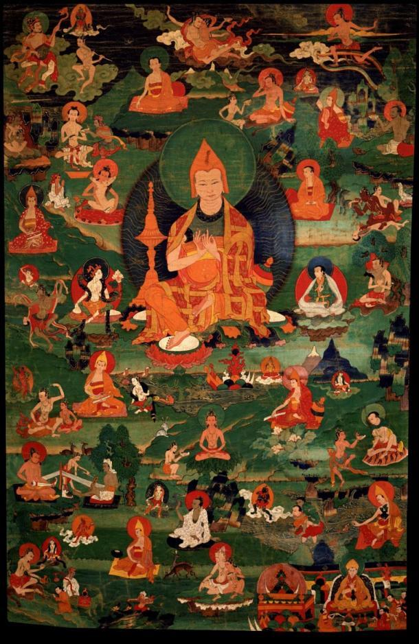 Atisha con veintiocho de los ochenta y cuatro Mahasiddhas. (Dominio público)