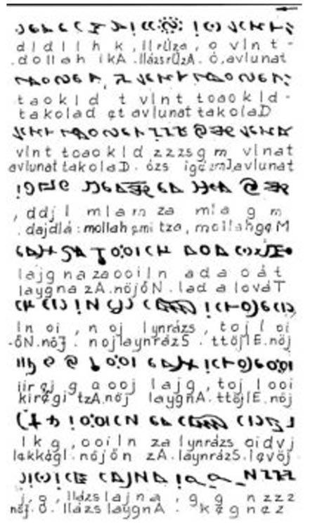 Parte del intento de Attila Nyíri de descifrar el Códice Rohonc. La imagen muestra la parte superior del folio 19 del códice, al revés, con transliteración y texto en húngaro. Dominio publico