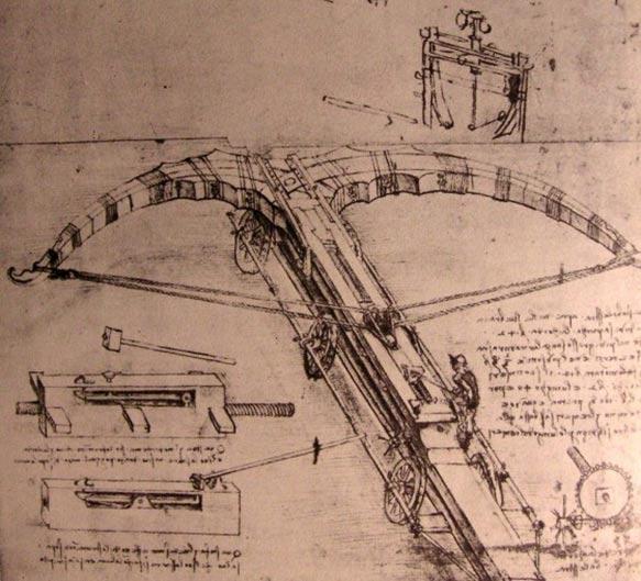 Bocetos de una máquina de guerra: una enorme ballesta diseñada por Leonardo da Vinci. (Public Domain)
