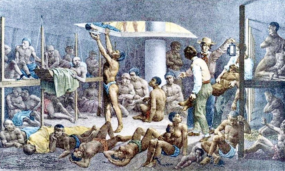 Africanos en la bodega de un barco de esclavos, cuadro de Johan Moritz Rugendas (Wikimedia Commons)