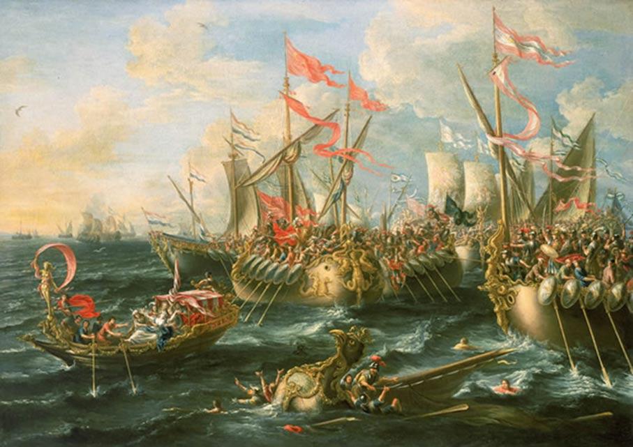 Óleo de Laureys a Castro pintado en 1672 en el que se representa la batalla de Actium. Museo Marítimo de Greenwich. (Public Domain)