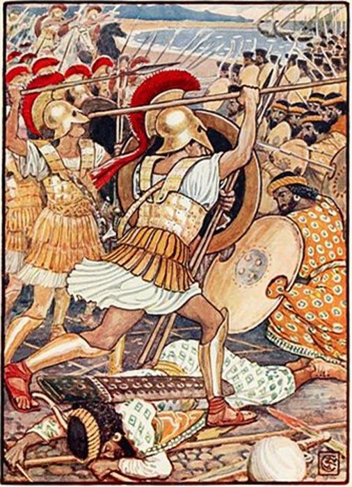 Guerreros atenienses abalanzándose sobre el ejército persa. (Public Domain)