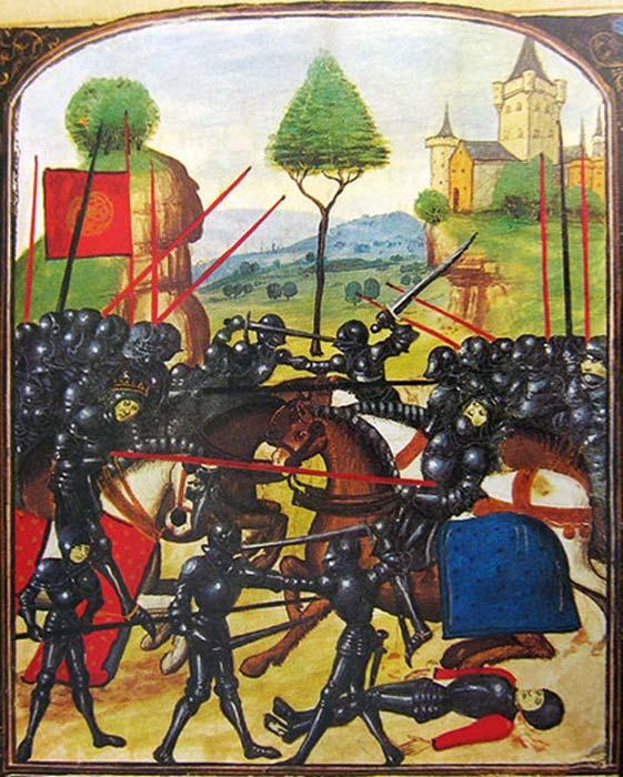 Batalla de Barnet - Representación artística de la batalla: Eduardo IV (izquierda), vestido con un aro y montado en un caballo, lidera la carga neoyorista y atraviesa al Conde de Warwick (derecha) con su lanza; En realidad, Warwick no fue asesinado por Edward. (Jappalang / Dominio Público)