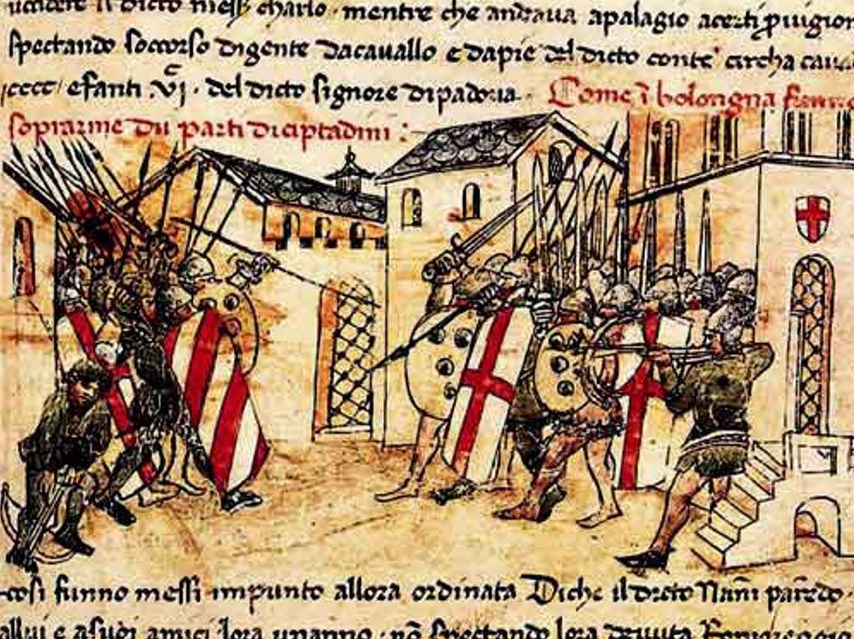 Batalla entre milicias de las facciones Güelfa y Gibelina en Bolonia, Italia (Wikimedia Commons)