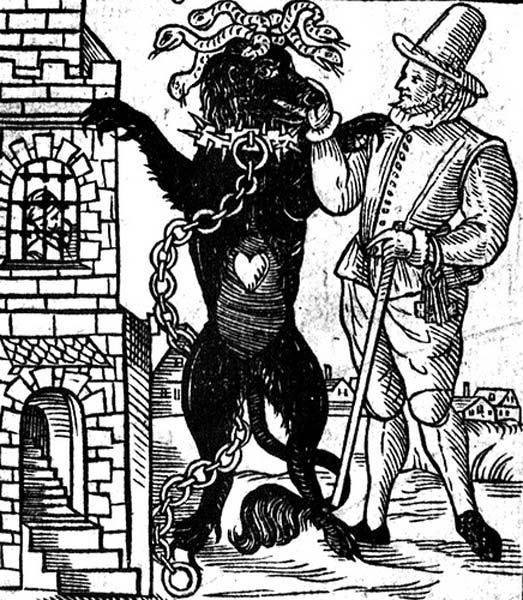 Dibujo del perro negro de Newgate, del libro 'El descubrimiento de un monstruo de Londres llamado el perro negro de Newgate', publicado en 1638. (Dominio público)