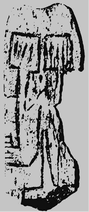 Fig. 3: Vista esquemática de los trazos principales que aparecen grabados sobre la placa de hueso (Imagen: Rodney Hale).